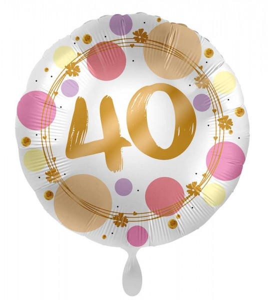 40th birthday balloon Happy Dots 45cm