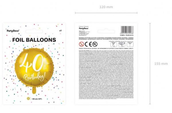 Glossy 40th Birthday Folienballon 45cm