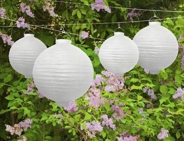 Lampion mit Leuchtmittel Weiß 20cm 1