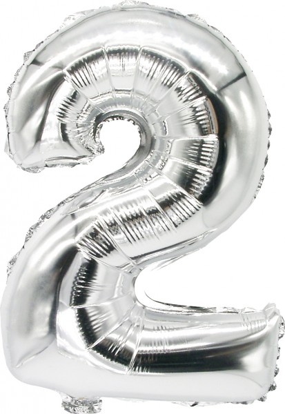 Foil balloon number 2 silver 43cm