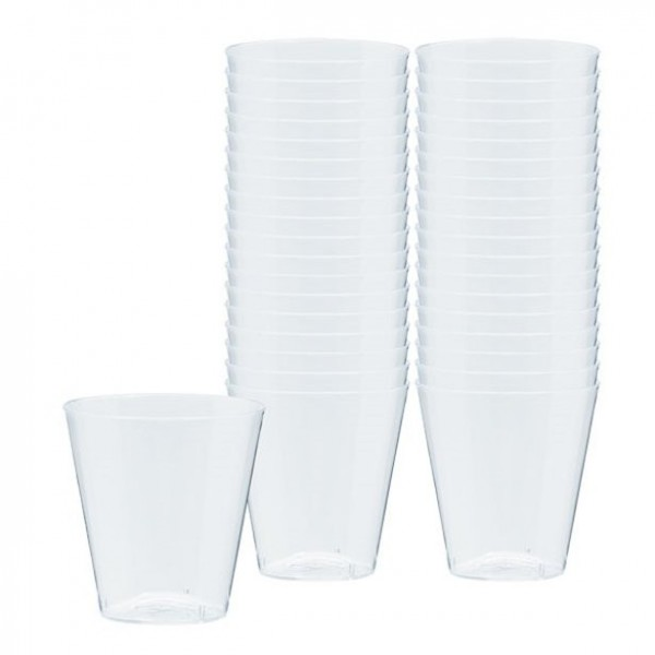100 transparent plastic shot glasses 59ml