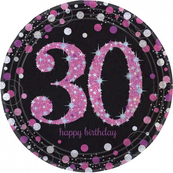 8 Pink 30th Birthday paper plates 23cm