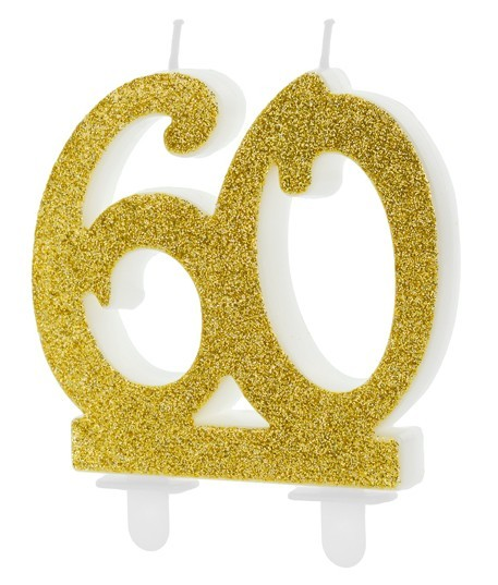 Glossy 60th Birthday Tortenkerze 7,5cm