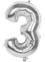 Folienballon Zahl 3 silber metallic 36cm