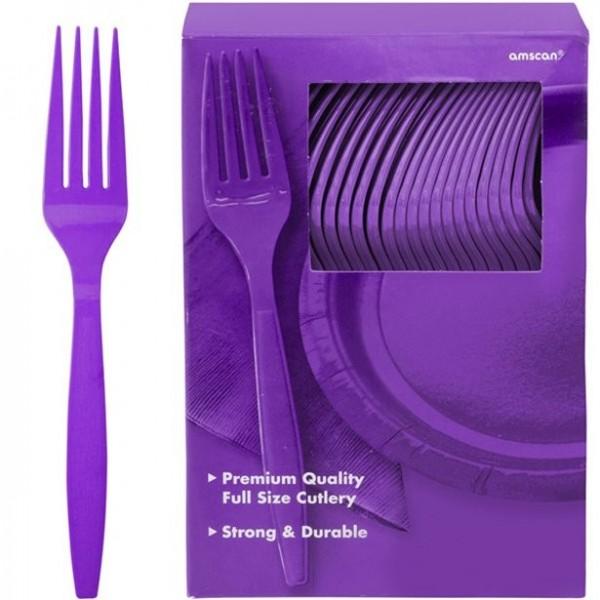 100 fourchettes en plastique réutilisables violettes