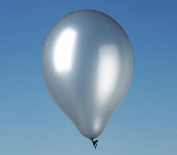 9 metallic latex balloons Iceland silver 30cm