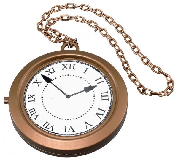Cadena medallón con colgante de reloj en bronce-oro