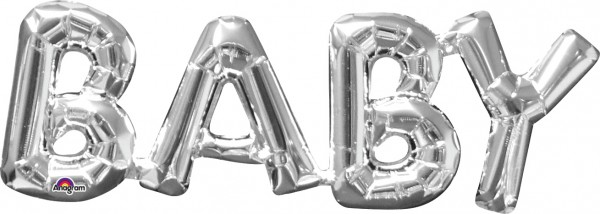 Foil balloon lettering baby silver 66x22cm