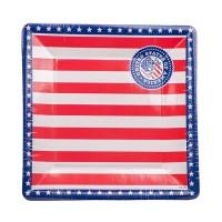 8 Pappteller USA Party quadratisch 25cm