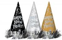 12 Neujahrswunsch Partyhüte 22cm