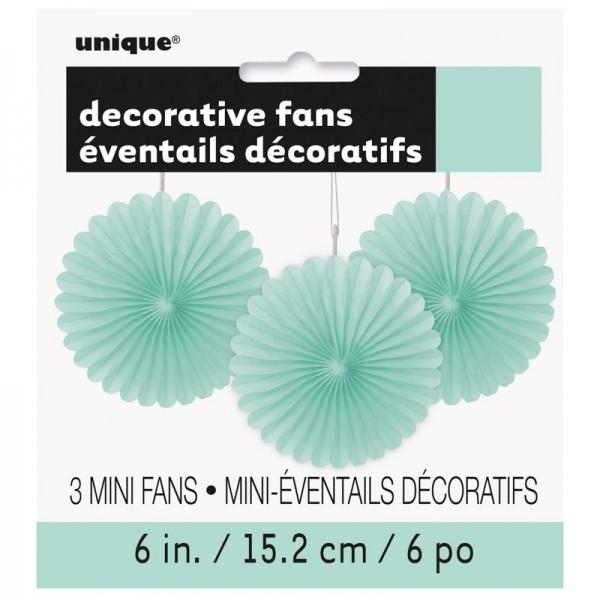 Éventail décoratif fleur vert menthe 15cm lot de 3