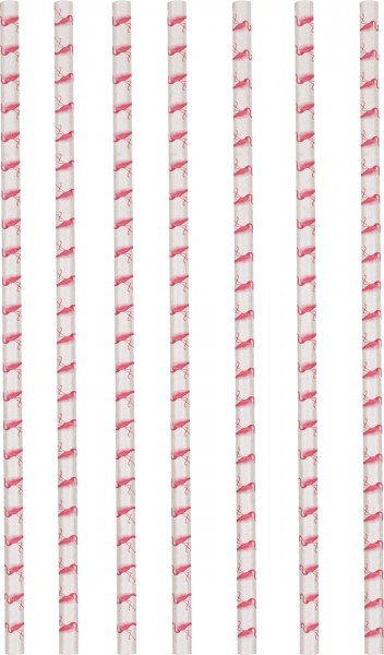 12 pailles en papier Flamingo Paradise