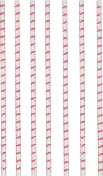 12 Flamingo Paradise Papier Strohhalme