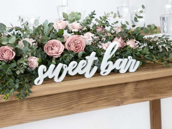Lettrage déco Sweet Bar blanc 37 x 10cm