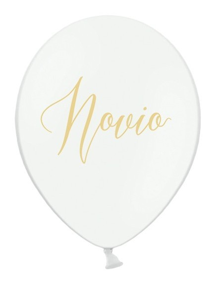50 Luftballons Novio mit Goldschrift