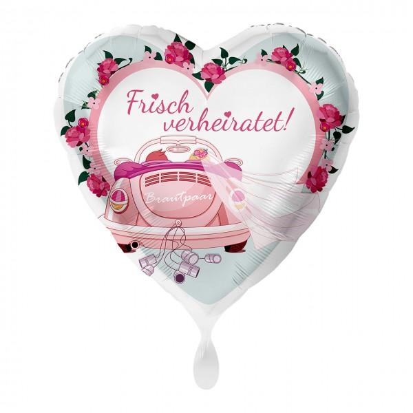 Frisch verheiratet Herz Folienballon Auto 43cm