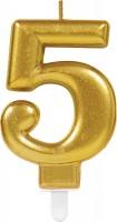 Zahlenkerze 5 Metallisch-Gold