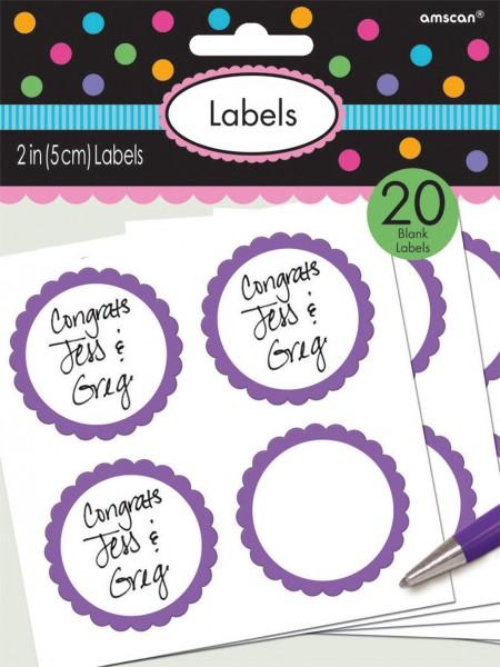 20 etykiet w formie bufetu z fioletową obwódką