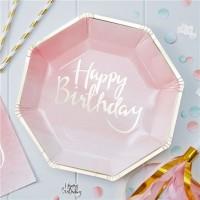 8 Birthday Blush Pappteller 25cm