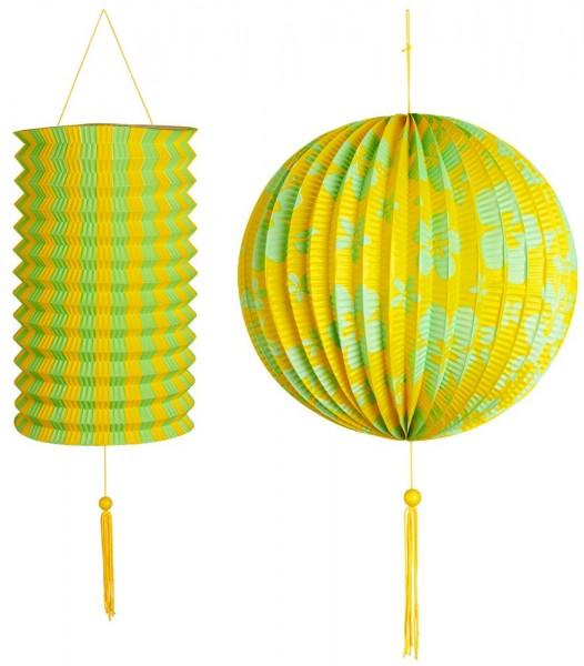 2 flower deco lanterns yellow-green