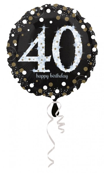 Golden 40th Birthday foil balloon 43cm