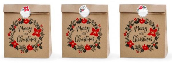 3 natural Christmas wreath gift bags