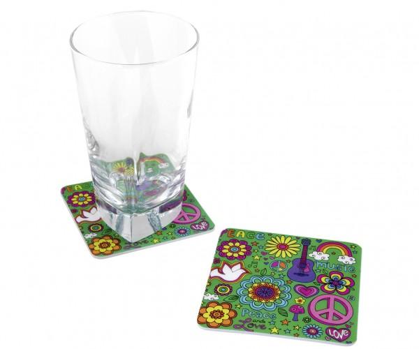 8 Glas Untersetzer Flower Power 8,5 x 8,5