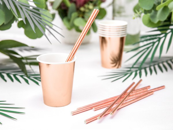 6 Rose Gold Metallic Paper Cups 220ml