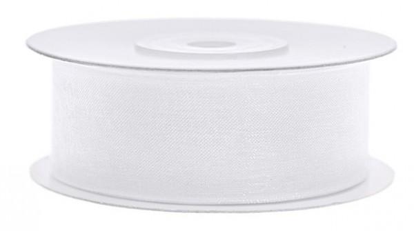 Ruban mousseline de soie blanc 25m largeur 25mm