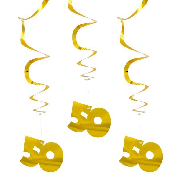 3 Spiral Hänger goldene 50