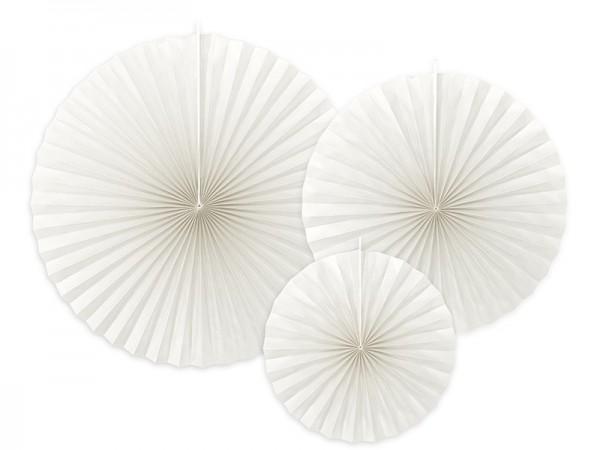 3 rozety papierowe Elenor białe