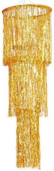 Araña de luces con flecos dorados 40cm x 1.3m