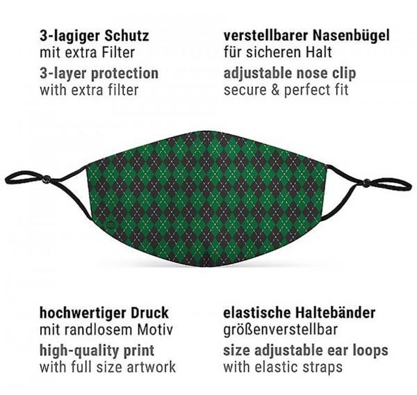 Mund Nasen Maske Zauberschule grün für Kinder