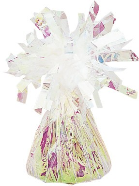 Shimmering fringed cone balloon weight