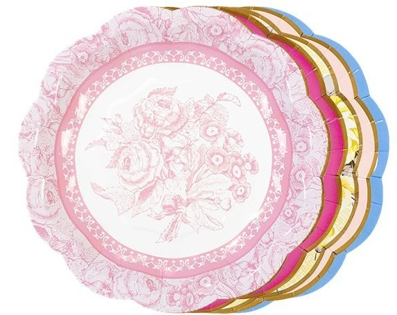 12 vintage paper plates peonies 18cm