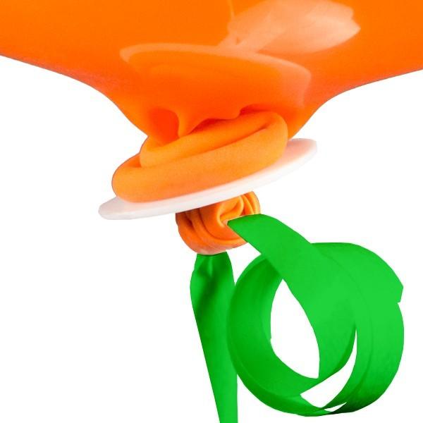 10 green balloon caps with ribbon