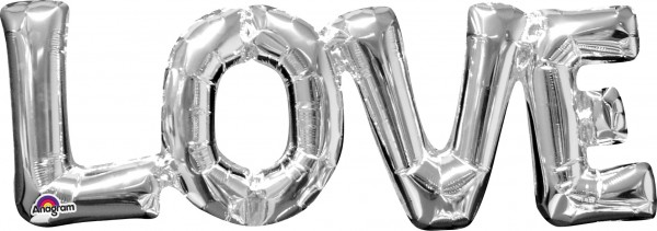 Foil balloon lettering Love silver 63x22cm