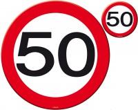 Verkehrsschild 50 Tischset 8-teilig