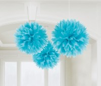 3 Romance Pompons azurblau