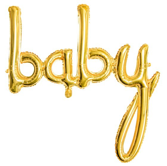 Baby foil balloon gold 73.5 x 73.5 cm