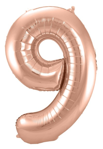 Folienballon große Zahl 9 Roségold 86cm 1