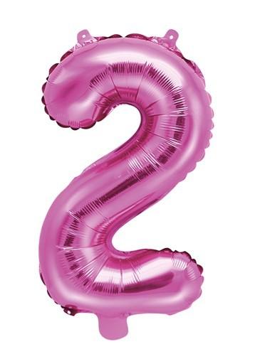 Zahl 2 Folienballon fuchsia 35cm
