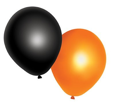 10 Halloween Luftballons orange-schwarz