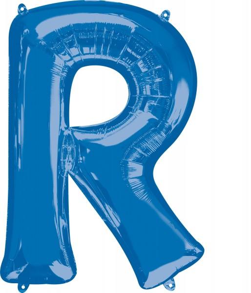 Foil balloon letter R blue XL 81cm
