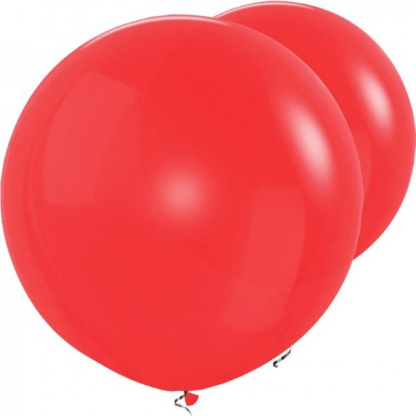 2 red XL balloons 91cm