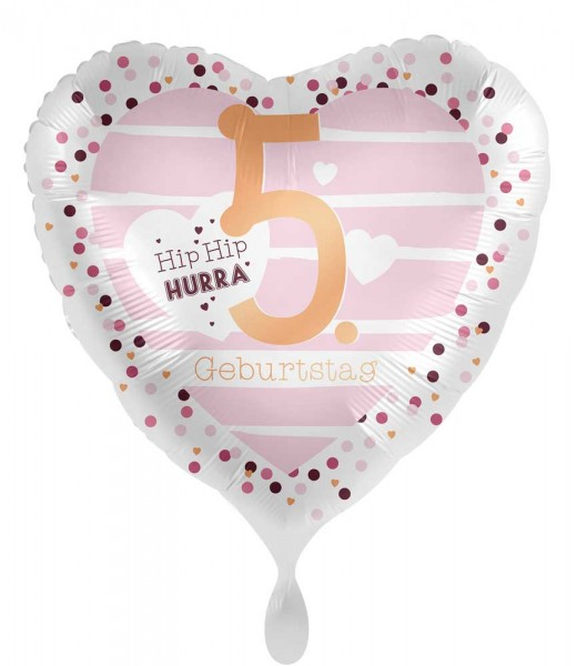 5. Geburtstag Herz Folienballon 45cm