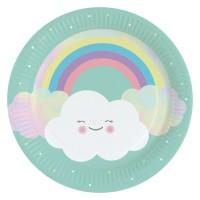 8 Süße Wolkenwelt Pappteller 23cm