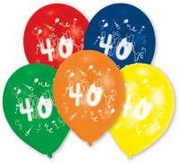10er Set bunte Zahl 40 Luftballons