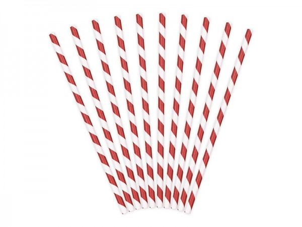 10 striped paper straws red 19.5cm