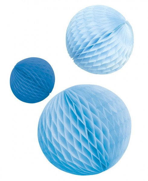3 shiny blue honeycomb balls